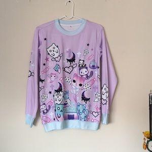 Sweaters - Kawaii Pastel Goth Lavender Sweatshirt - Loose S